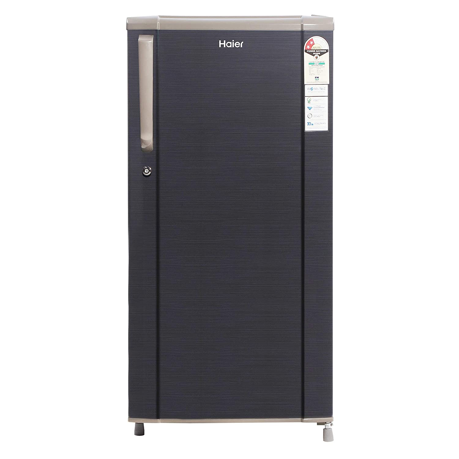 Direct Cool Refrigerator: Economical and requires manual defrosting 181 Ltr - Suitable for families with 2 to 3 members 2 Star: energy efficiency 1 Year on Product & 10 year warrantry on compressor Compressor Type :Non Inverter This new Direct Cool Refrigerator by Haier comes with a 10 years of warrany on compressor, 1 HIT (Hour Icing Technology), Base Drawer which gives you more Space , Toughened Glass Shelves & stabilizer free operation with operating range of 135-290V that protects the compressor from power fluctuations.