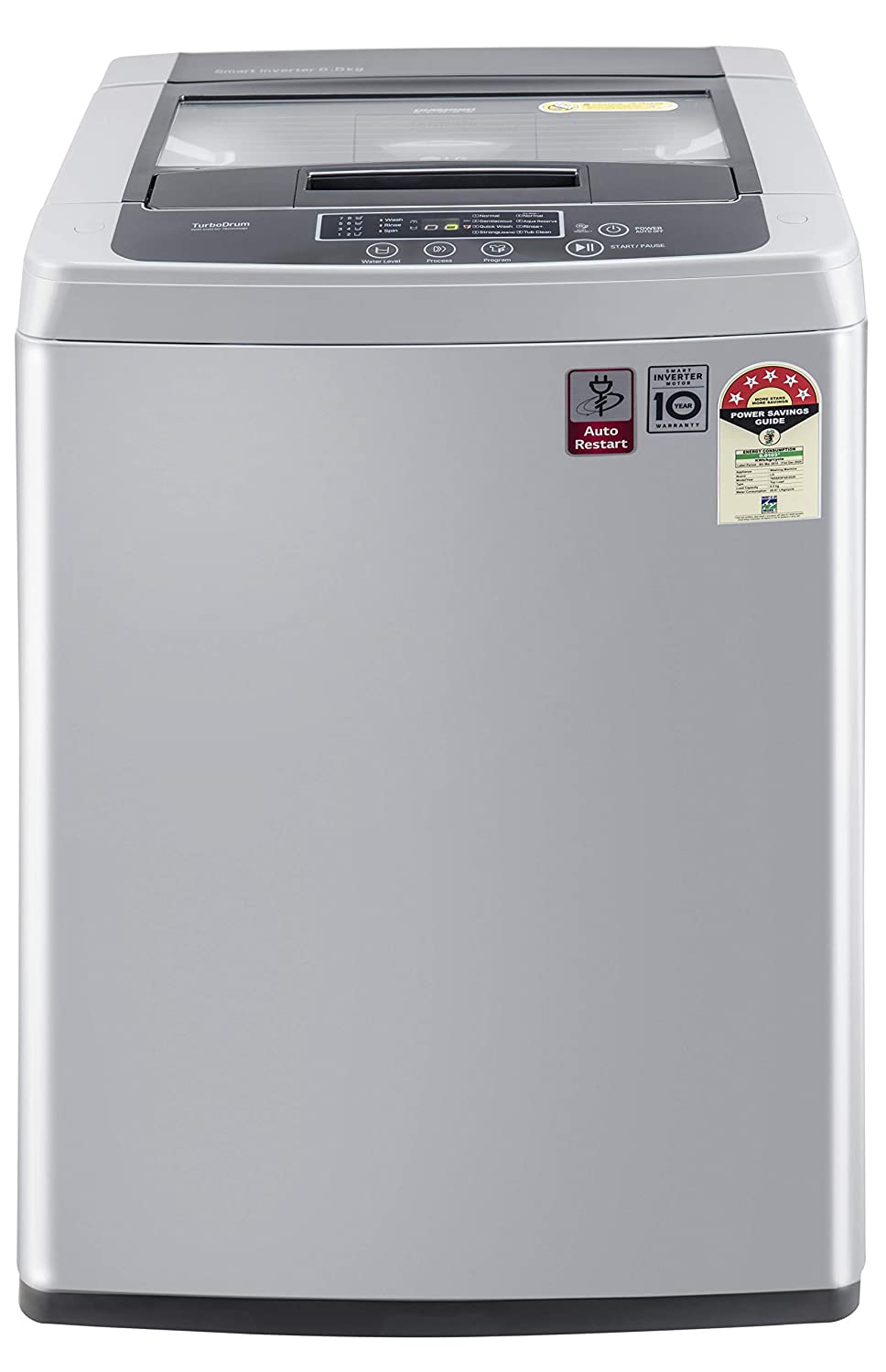 Fully-automatic top load washing machine: Affordable with great wash quality, Easy to use 5 Star Energy Rated Model : Best in class efficiency Capacity 6.5 Kg : Suitable for bachelors & couples Manufacturer Warranty: 2 years on product and 10 years on motor*T&C 780 rpm: Higher spin speeds helps in faster drying Wash Programs: Normal, Pre Wash+Normal, Gentle (Wool/Saree), Quick Wash, Strong (Jeans), Tub Clean/Aqua reserve