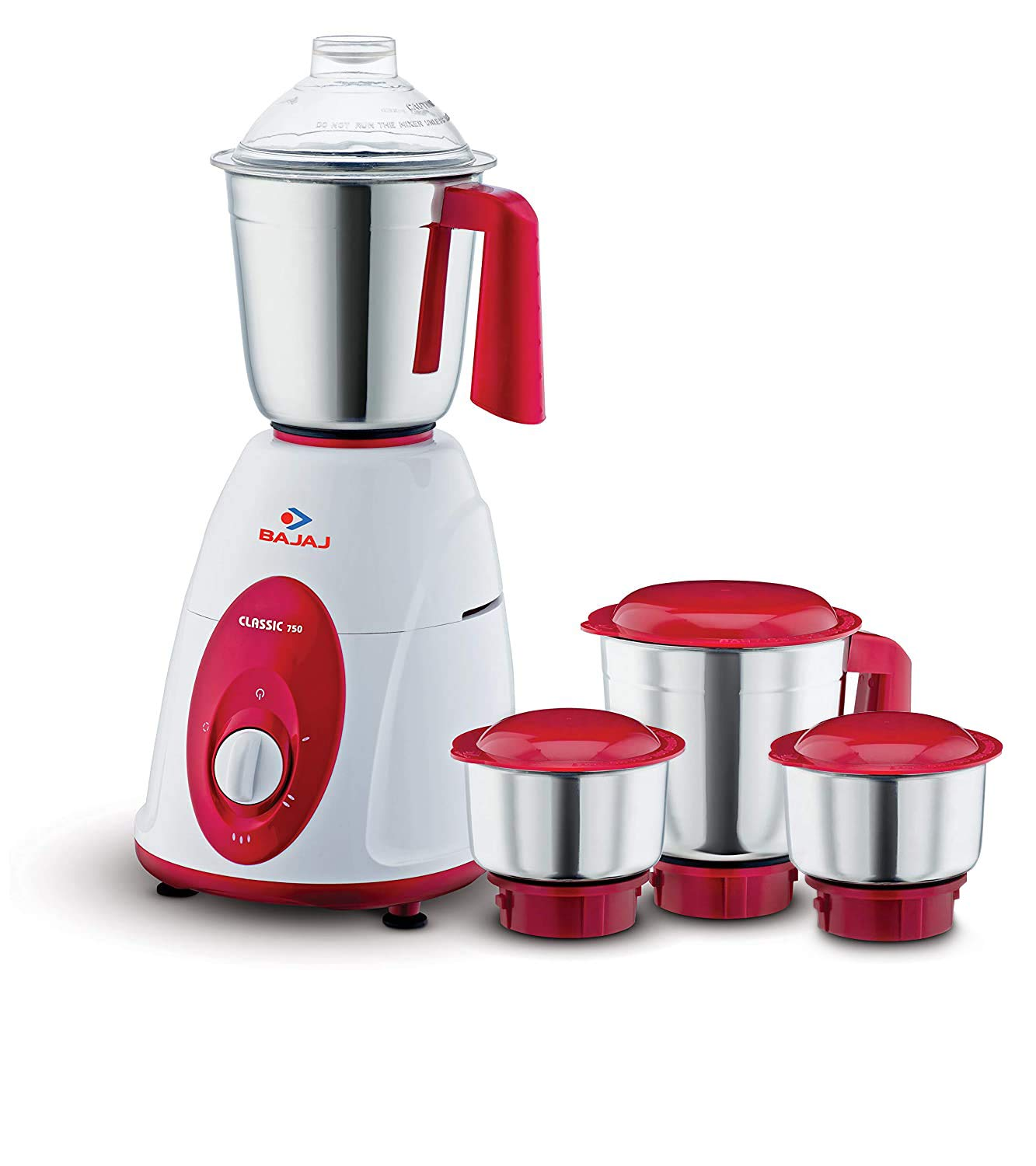 Bajaj Classic Mixer Grinder, 750W, 4 Jars (Comes with an Additional Chutney jar)