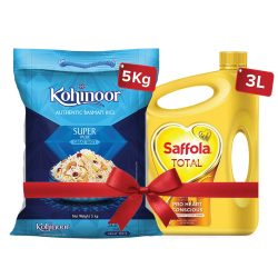 Saffola Total-Pro Heart Conscious Edible Oil 3 L and Kohinoor Basmati Rice 5 kg